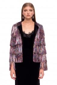 Jacheta NISSA stralucitoare din franjuri Multicolor