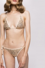 Costum NISSA de baie cu paiete in nuante metalice Auriu
