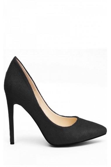 Pantofi cu toc NISSA negri din piele naturala, cu varf ascutit