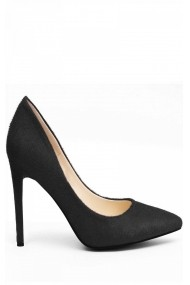 Pantofi NISSA negri din piele naturala, cu varf ascutit