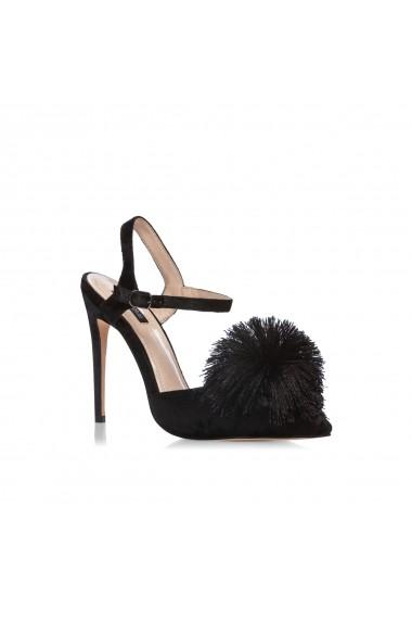 Pantofi cu toc NISSA eleganti cu ciucure Negru