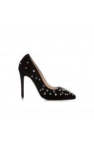 Pantofi cu toc NISSA stiletto cu pietre stralucitoare Negru