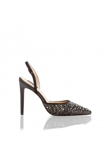 Pantofi cu toc NISSA stiletto cu strasuri Negru