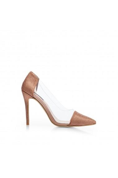 Pantofi NISSA stiletto cu insertie transparenta Nude