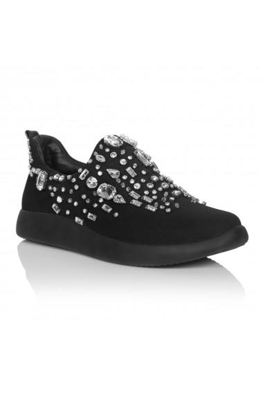 Pantofi NISSA sport cu detalii stralucitoare Negru