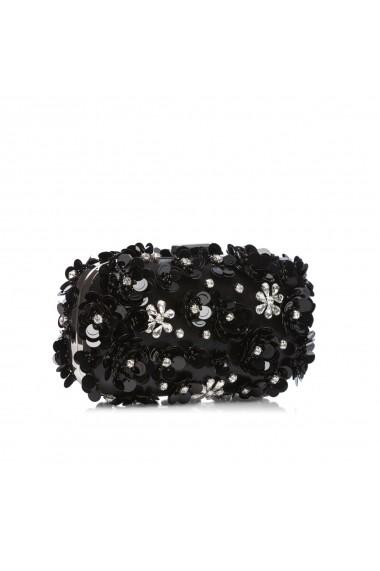 Clutch NISSA stralucitor cu flori 3D Negru