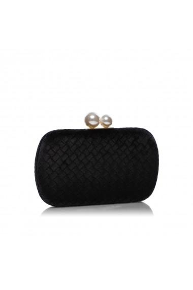 Clutch NISSA elegant cu detaliu tip perla Negru