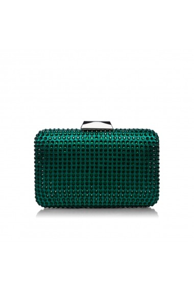 Clutch NISSA elegant accesorizat cu pietre de sticla Verde