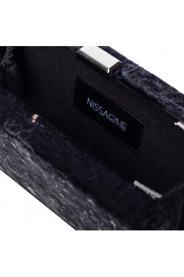 Clutch NISSA elegant din catifea Negru