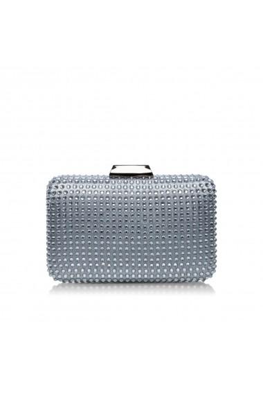 Clutch NISSA elegant accesorizat cu pietre de sticla Argintiu