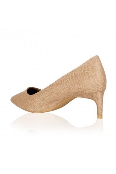 Pantofi cu toc NISSA stiletto cu toc scurt Bej