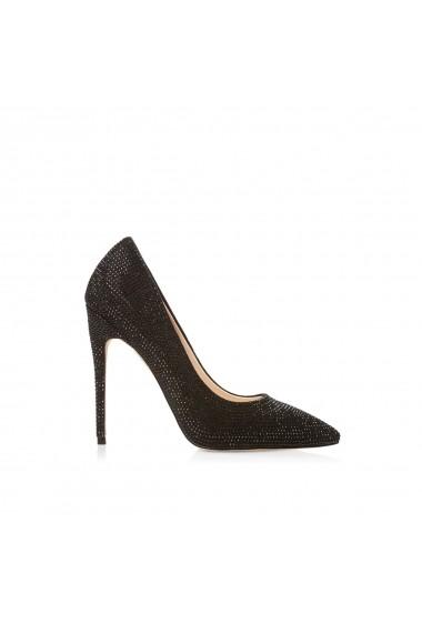 Pantofi cu toc NISSA stiletto cu pietre de sticla Negru
