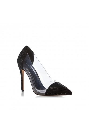 Pantofi cu toc NISSA stiletto cu transparente Negru