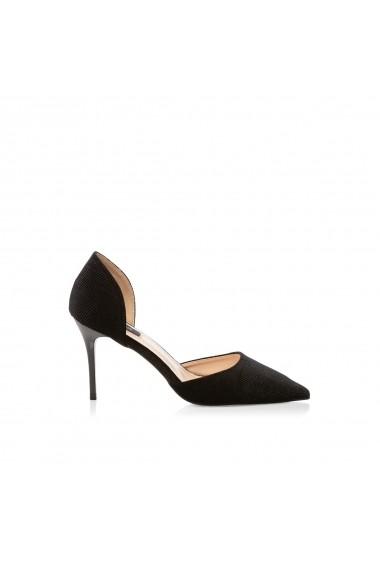 Pantofi cu toc NISSA stiletto din velur Negru