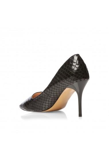 Pantofi cu toc NISSA stiletto cu model embosat Negru