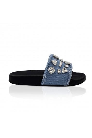 Papuci NISSA din denim cu detalii stralucitoare Albastru