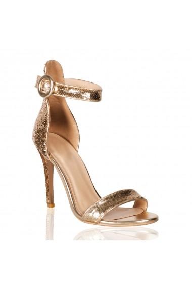 Sandale cu toc NISSA elegante cu paiete Auriu