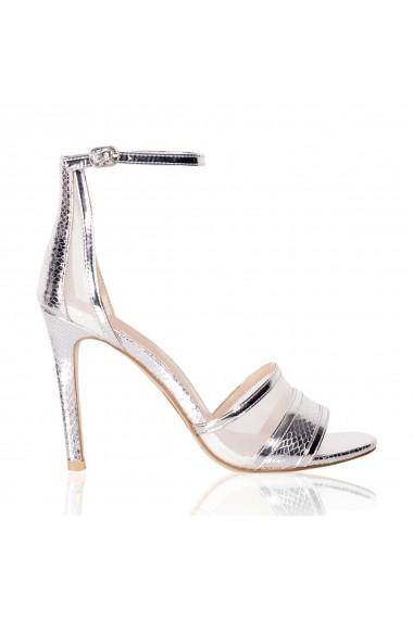 Sandale cu toc NISSA elegante metalice Argintiu