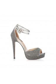 Sandale cu toc NISSA elegante cu tesatura stralucitoare Argintiu