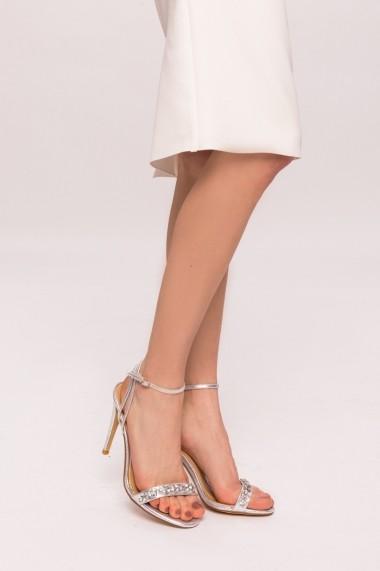 Sandale cu toc NISSA cu pietre aplicate Argintiu