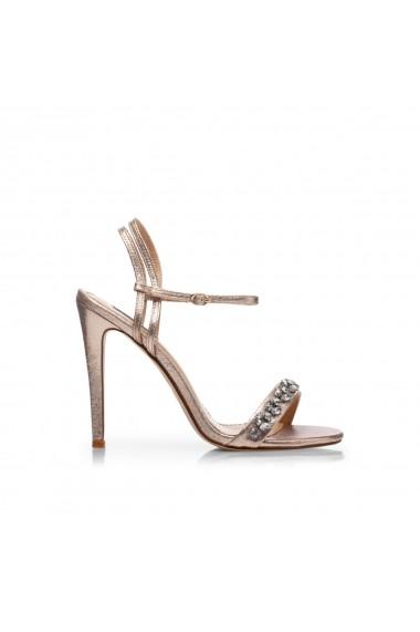 Sandale cu toc NISSA cu pietre aplicate Auriu