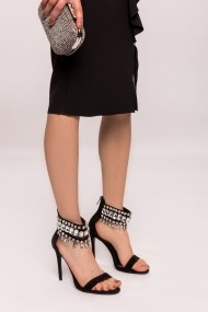 Sandale cu toc NISSA cu cristale aplicate Negru