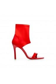 Sandale cu toc NISSA cu decupaj tip soseta Rosu