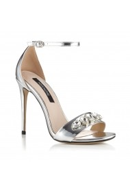 Sandale cu toc NISSA cu cristale aplicate Argintiu