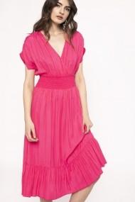 Rochie NISSA din vascoza cu elastic in talie Roz