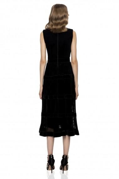 Rochie NISSA midi eleganta fara maneci neagra