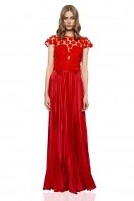 Rochie NISSA plisata cu flori 3D Rosu