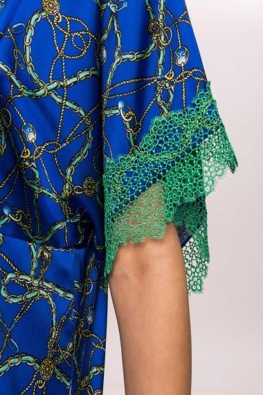 Rochie NISSA satinata cu print si dantela in contrast Print