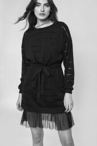 Rochie NISSA cu insertie din dantela si cordon in talie Negru