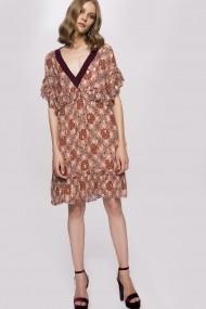 Rochie NISSA din vascoza cu guler contrastant Print