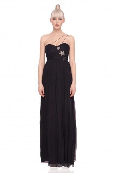 Rochie NISSA eleganta cu stele aplicate Negru