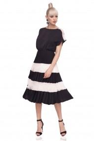 Rochie NISSA midi in culori contrastante Alb neagra