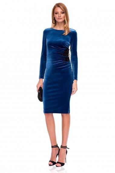 Rochie NISSA din catifea cu aplilcatii hand made albastra