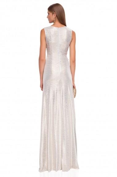 Rochie NISSA lunga eleganta din material stralucitor Argintiu