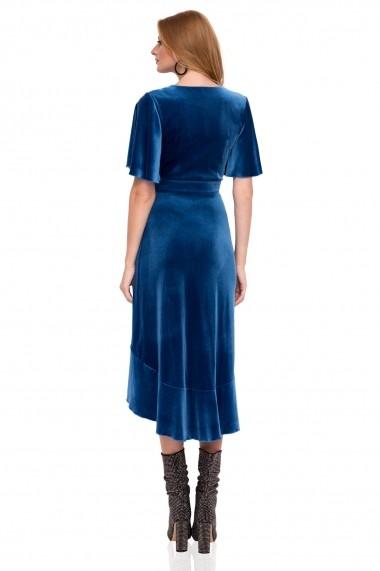 Rochie NISSA midi eleganta cu volane albastra