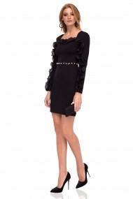 Rochie NISSA eleganta cu dantela si detalii tip perle neagra