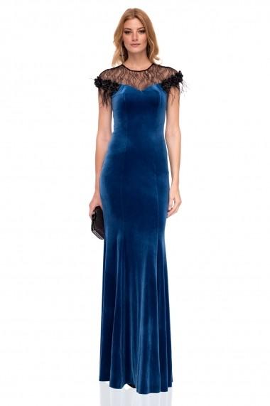 Rochie NISSA lunga din catifea albastra