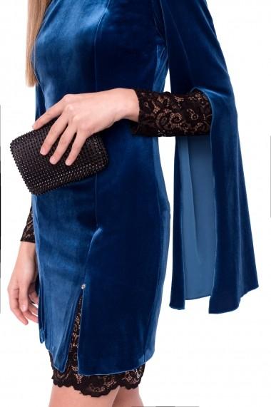 Rochie NISSA de catifea cu detalii din dantela albastra