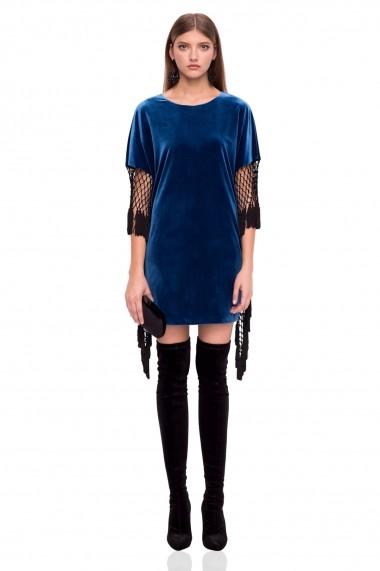 Rochie NISSA de catifea cu franjuri albastra