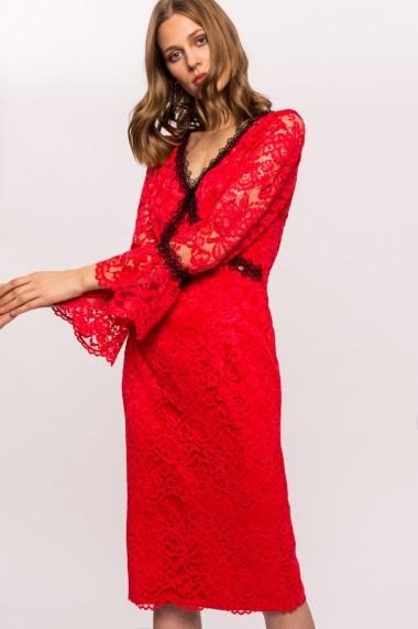 Rochie NISSA cu insertie din dantela contrastanta Rosu
