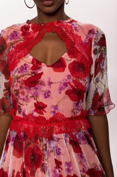 Rochie NISSA din matase cu print floral Print nsRS10515/Print