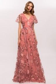 Rochie NISSA cu flori brodate si cordon Roz