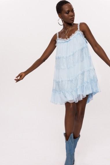 Rochie NISSA din matase cu insertie din dantela Bleu