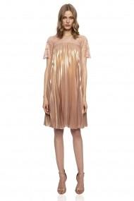 Rochie NISSA nude metalic plisata cu insertie de dantela Roz