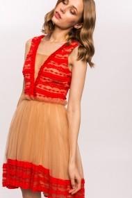 Rochie NISSA cu dantela si fusta din tulle Rosu