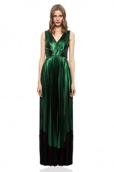 Rochie NISSA verde metalic cu dantela Verde
